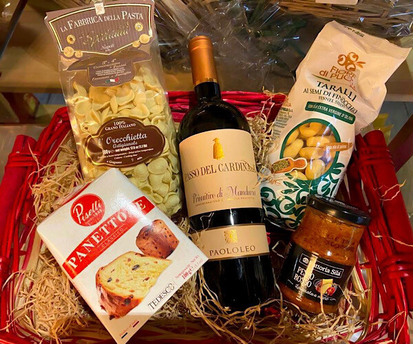 primitivo christmas hamper with wine and panettone